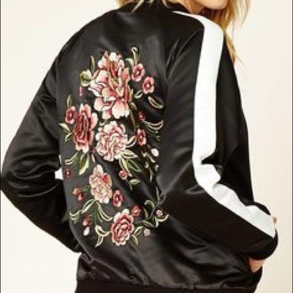Forever 21 Jackets Coats F21 Flower Embroidered Bomber Jacket